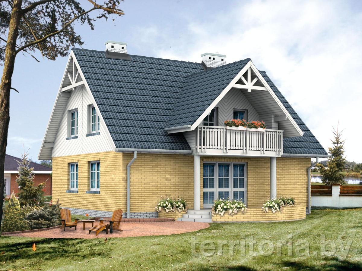 Крыши домов с мансардой и балконом..