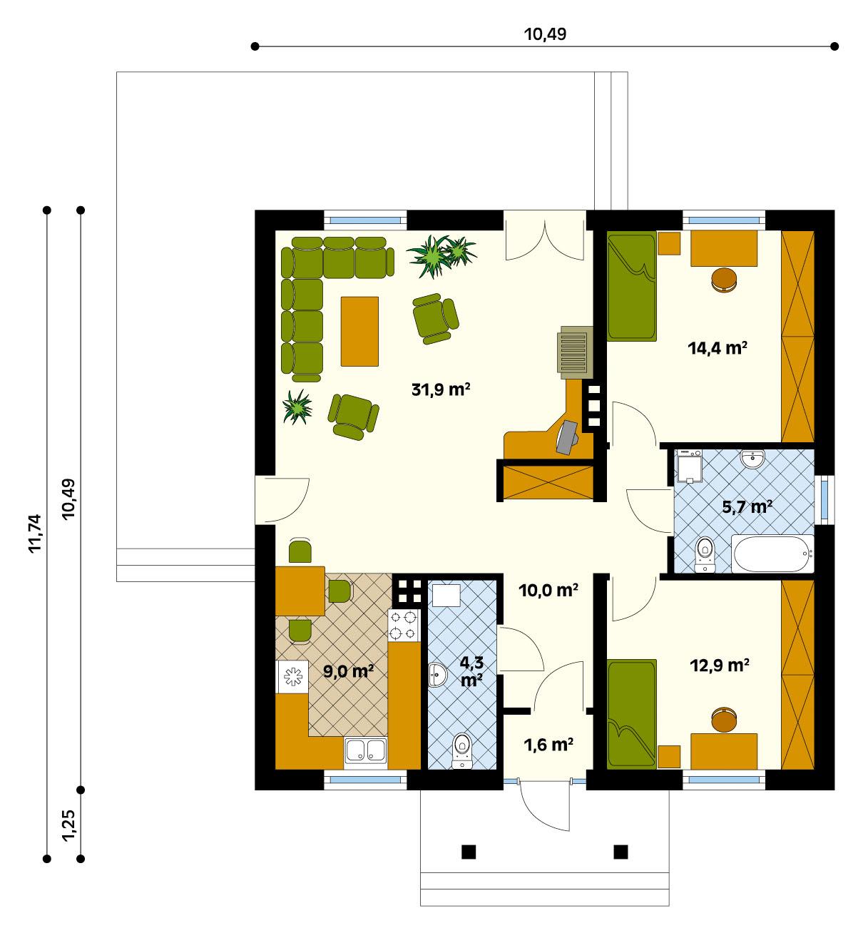 Дом 8 на 10 планировка одноэтажного дома фото 5